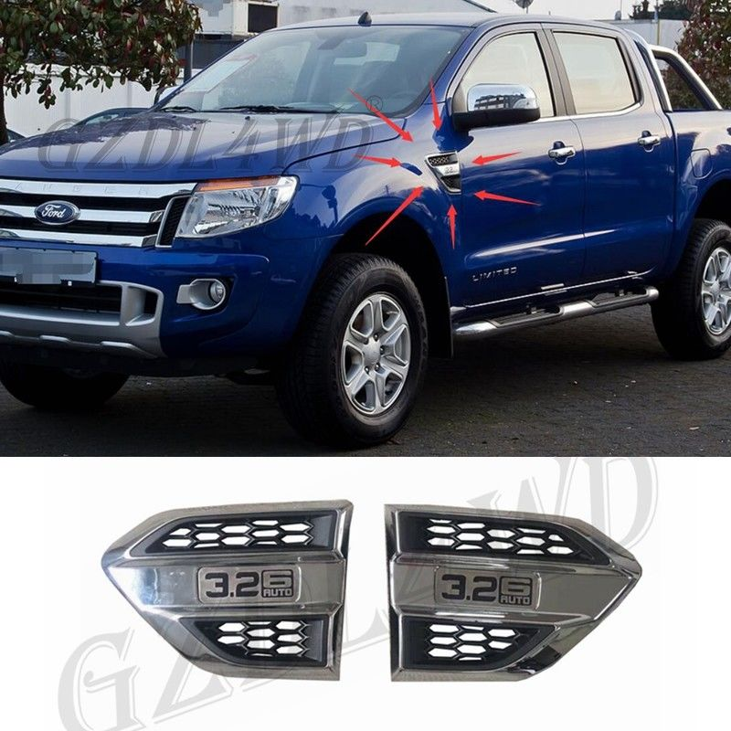 Plastic Wind Port Cover Fender Side Air Outlet Air Flow Outlet Cover Trim For Ford Ranger