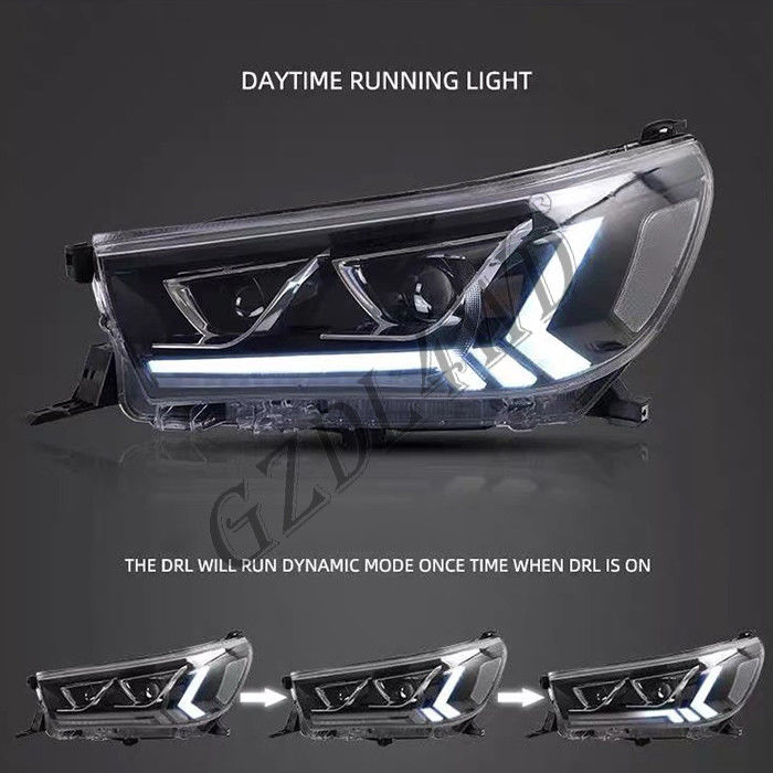 Clear Lens 4x4 Driving Lights, Toyota Hilux Revo Rocco 2015 LED DRL Proyektor Head Light